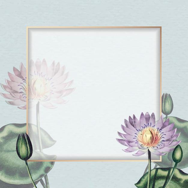 空白の紫色の睡蓮フレームベクトル