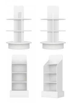Blank racks with shelves. market advertising empty modern information stands in market vector realistic picture
