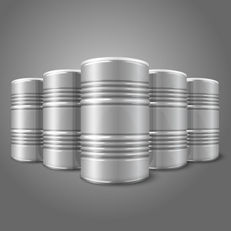 Blank realistic blank big oil barrels