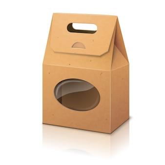 Пустой реалистичный пакет для упаковки из крафт-бумаги