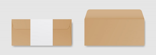 Blank realistic envelope in front and back view mockup. template design. realistic illustration.