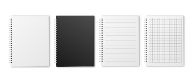 Набор пустых реалистичных тетрадей с горизонтальной линией и квадратами