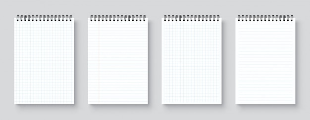 Blank realistic notebook, organizer and diary with lined and squared paper page template