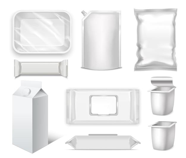 Blank realistic packge set