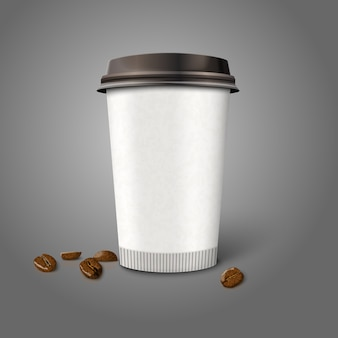 Blank realistic  paper coffee cup with beans, isolated on grey background.