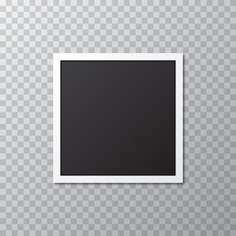 Blank realistic photo frame with shadow on a transparent