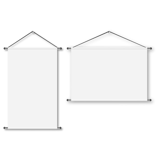 Blank realistic portable projection screen.