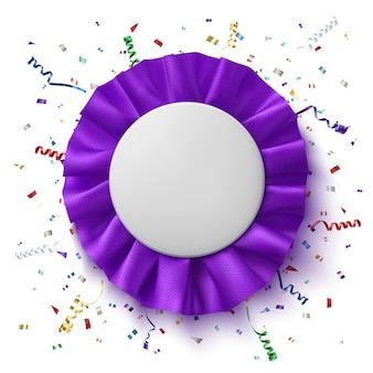 Blank, realistic purple fabrick award ribbonl with colorful confetti and ribbons, isolated on white background. badge. illustration