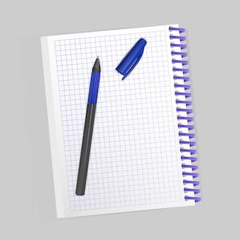 Пустой реалистичный спиральный блокнот и реалистичная ручка изолированы