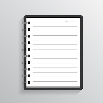 Blank realistic spiral notepad notebook on gray background