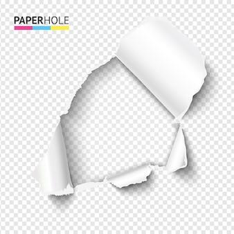 투명 한 배경에 빈 현실적인 눈물 종이 구멍
