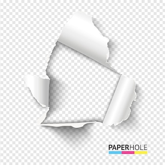 Blank realistic tear paper hole on transparent background