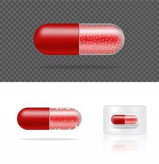 空白の現実的な透明な錠剤薬カプセルパネル。錠剤の医療と健康の概念。