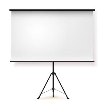 Blank realistic tripod portable projection screen.