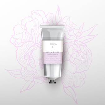 Blank realistic tube for cosmetics. flowers peonies illustration
