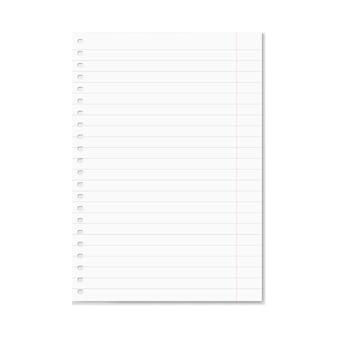 Blank realistic vector lined copy-book sheet with red margins