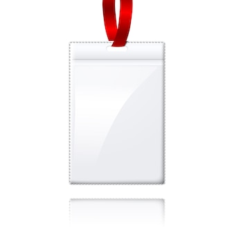 Blank realistic vertical badge holder with bright light lace.