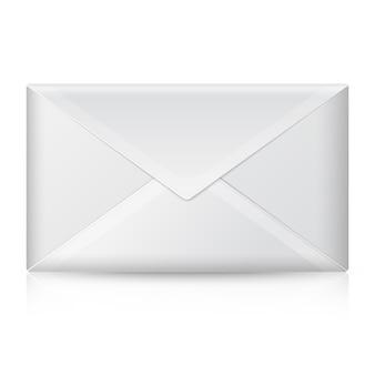 빈 현실적인 흰색 닫힌 된 봉투입니다. 디자인 및 브랜딩에 대 한 반사와 흰색 배경에 고립.