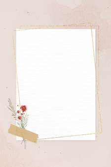 Blank rectangle gold frame on pink background template vector