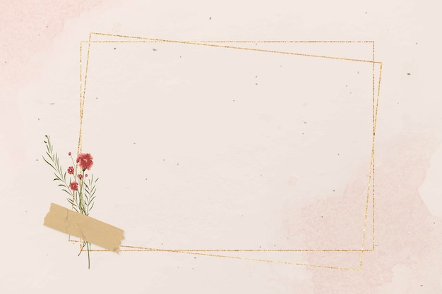 Blank rectangle gold frame on pink background template