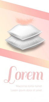 Blank rectangular pillows with pink feather on top