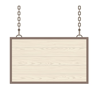Blank rectangular wooden signboard hanging on metallic chain. vector flat monochrome illustration isolated on white background. for poster, presentations