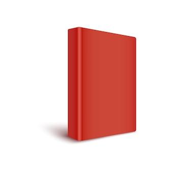 空白の赤い表紙の本は、白い背景で隔離された、背骨を正面のリアルなスタイルに向けることによって立っています。 4分の3ビューのカラークローズドハードカバー本の3dテンプレート