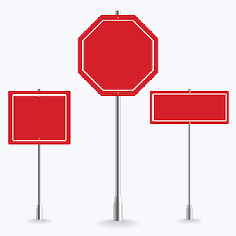 Blank red road sign collection on white background.   illustration