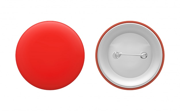 Blank red round pin. empty badge template, front and back. vector illustration