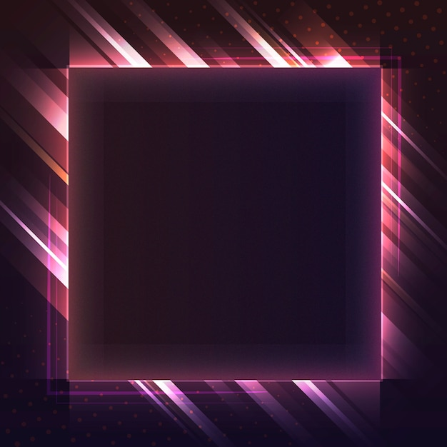 Blank red square neon signboard vector