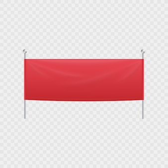 Blank red textile horizontal banner or billboard hanging on poles.