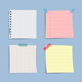 Blank reminder paper notes set
