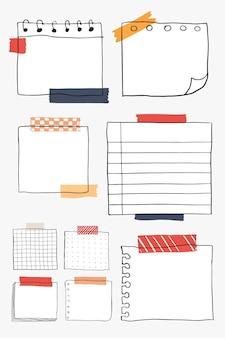 空白のリマインダー紙ノートベクトルセット