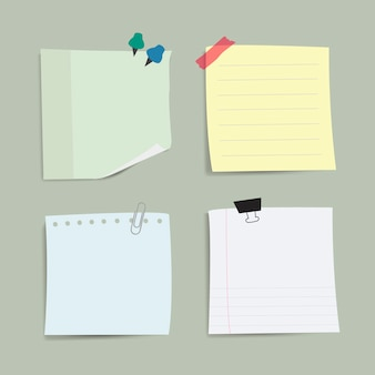 Blank reminder paper notes vector set