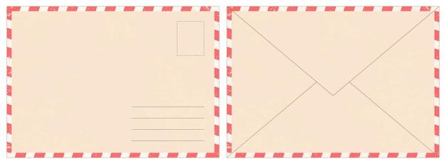 빈 복고풍 우편 봉투입니다. 오래 된 빈티지 항공 우편 편지입니다. 종이 서신 봉투 뒷면과 앞면은 사실적인 벡터 모형을 만듭니다. 메시지 전달 및 발송, 현실적인 우표