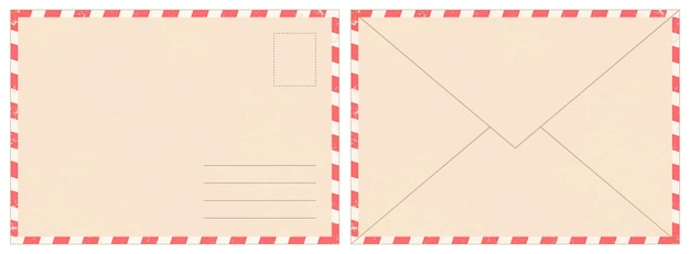 Blank retro postal envelope. old vintage air mail letter. craft paper correspondence envelopes back and front view realistic vector mockup. message delivery and sending, realistic postage