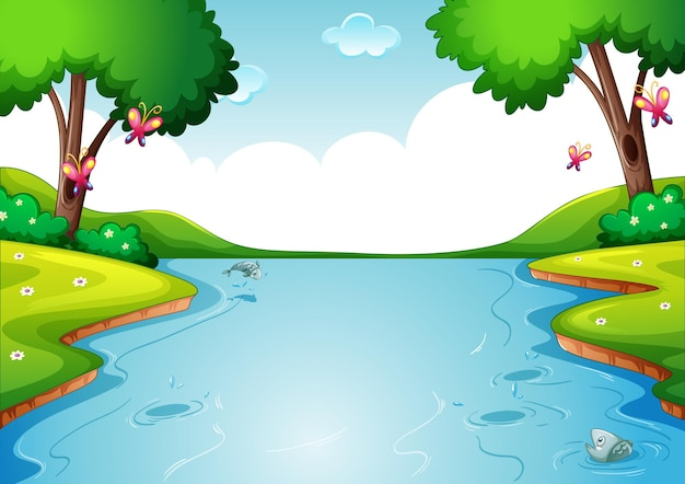 Blank river in forest nature scene background