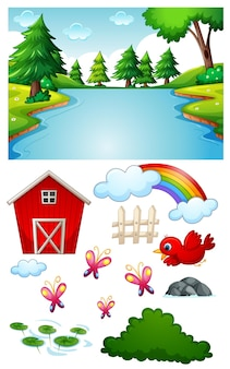 Blank river scene with isolated cartoon character and objects