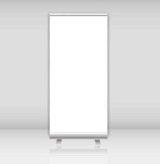 Blank roll up banner display template for designers vector illus