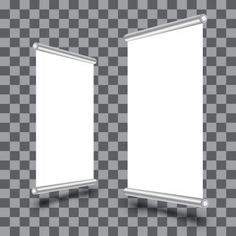 Blank roll-up xbanner display isolated on transparent