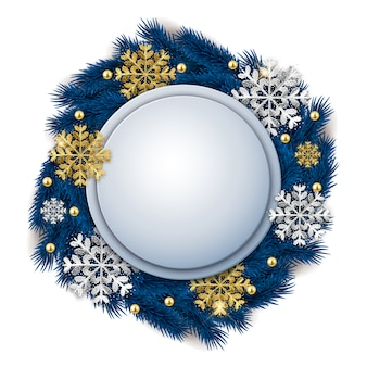 Blank round christmas ornate banner with fir tree wreath and glitter snowflakes