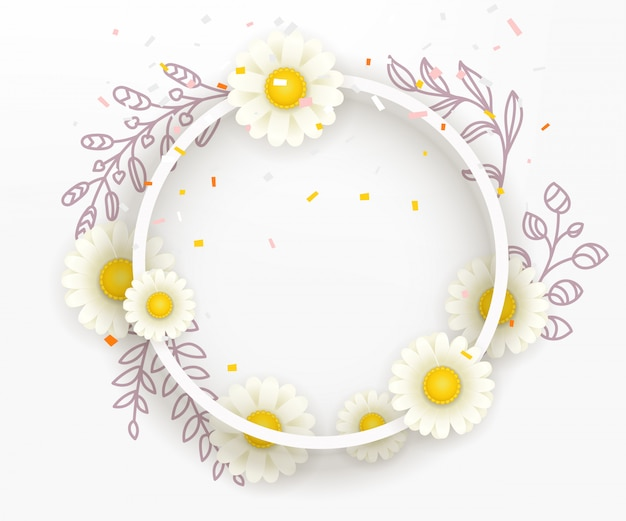 Blank round frame with white flowers.