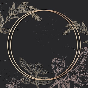 Blank round golden frame with an outline flowers decoration on black background