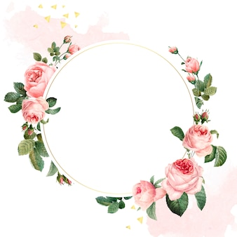 Blank round pink roses frame vector