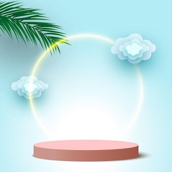 Blank round podium with clouds and palm leaves pedestal cosmetic products display platform