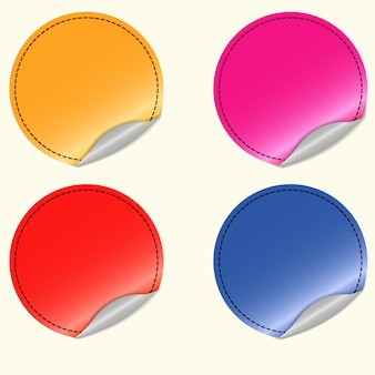 Blank round stickers set, different colors,