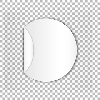 Blank round sticky paper sheet with curl