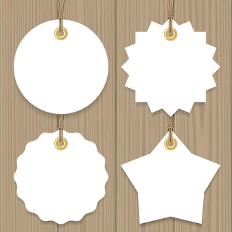 Blank sale hang tags with a string mock up set, round, star and badge shape.