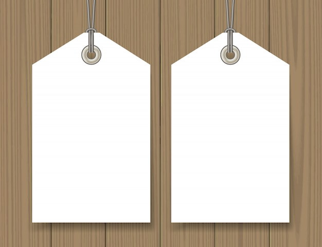 Blank sale tags mock up set on wooden background
