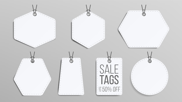 Blank sale tags set